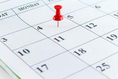 Mese di settimana di giorno del pianificatore della data di calendario Immagine Stock
