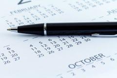 Mese di settimana di giorno del pianificatore della data di calendario Fotografie Stock Libere da Diritti