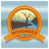 Mese novembre di logo del paesaggio Fotografia Stock Libera da Diritti