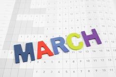 Mese variopinto di marzo sulla carta del calendario Fotografie Stock