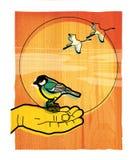 Mesen sitter på gömma i handflatan av en man Kranar flyger till och med en sol- skiva mot himlen Illustration på en röd trätextur stock illustrationer