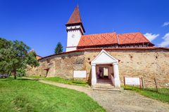 Mesendorf fortificó la iglesia, Transilvania, Rumania fotografía de archivo libre de regalías