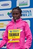 Meseret Kitata Tolwak, ganhado a raça das mulheres na 21th Roma março imagens de stock royalty free