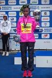 Meseret Kitata Tolwak, ganhado a raça das mulheres na 21th Roma março fotografia de stock