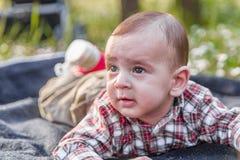 6 meses bonitos do bebê curioso mas sereno Fotografia de Stock