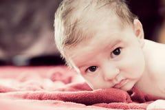 3 meses bonitos do bebê que encontra-se na cobertura vermelha Fotografia de Stock