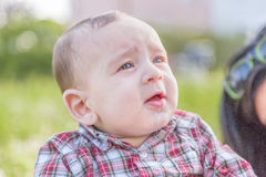 6 meses bonitos do sorriso do bebê Fotografia de Stock Royalty Free