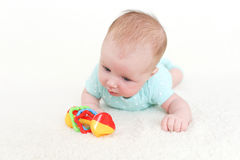 2 meses de bebê bonito com chocalho Fotografia de Stock