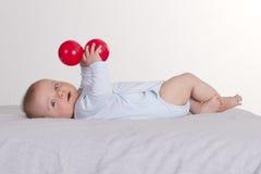 6 meses de bebê idoso que guarda duas bolas vermelhas Imagens de Stock Royalty Free