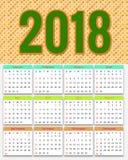 12 meses de diseño 2018 del calendario Fotografía de archivo libre de regalías
