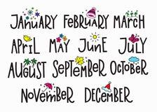 Meses del año del calendario de tipografía de las letras Foto de archivo