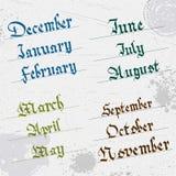 Meses do ano, escrita da mão, gótico Imagens de Stock Royalty Free