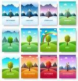12 meses do ano Grupo de informação do ano do tempo Tempera bandeiras Fundo do conceito de Infographic disposição ilustração do vetor