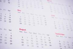 Meses e datas no calendário Imagem de Stock Royalty Free