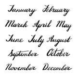 Meses manuscritos del año stock de ilustración