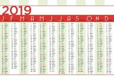 2019 meses simples do calendário com listras verticais ilustração stock