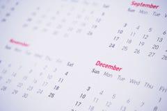 Meses y fechas en calendario Fotografía de archivo libre de regalías