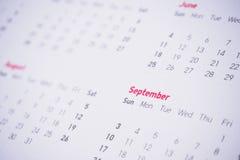 Meses y fechas en calendario Fotografía de archivo