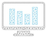 Bar Chart Monitoring Vector Mesh Wire Frame Model royalty free illustration