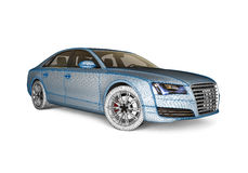 Mesh car. 3D render image representing a car with mesh texture Royalty Free Stock Photos
