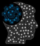 Mesh Carcass Intellect Gear Rotation lucido con i punti luminosi royalty illustrazione gratis