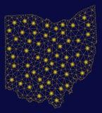 Mesh Carcass Ohio State Map amarillo con los puntos ligeros stock de ilustración