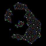 Mesh Carcass Santorini Island Map brilhante com pontos claros ilustração royalty free
