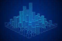 Mesh Cubes City Array Stockbilder