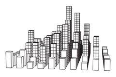 Mesh Cubes City Array Lizenzfreie Stockfotos