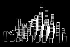 Mesh Cubes City Array Stockfoto