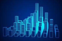 Mesh Cubes City Array Lizenzfreies Stockbild