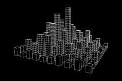 Mesh Cubes City Array Stockfotos