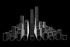 Mesh Cubes City Array Stockfotografie