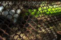 Mesh fence close up. Image with blurred background. Chain link fence Royalty Free Stock Image