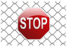 Mesh fence stop Royalty Free Stock Images