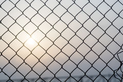 Mesh Fence with Sunrise Royalty Free Stock Image