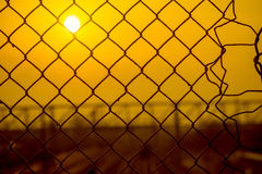 Mesh Fence with Sunrise Royalty Free Stock Images