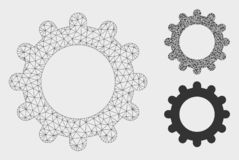 Gear Vector Mesh Carcass Model and Triangle Mosaic Icon. Mesh gear model with triangle mosaic icon. Wire carcass triangular mesh of gear. Vector mosaic of vector illustration