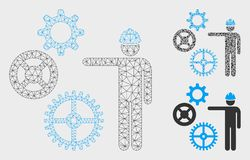 Gears Mechanics Presentation Vector Mesh Network Model and Triangle Mosaic Icon. Mesh gears mechanics presentation model with triangle mosaic icon. Wire carcass stock illustration