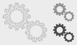Gears Vector Mesh 2D Model and Triangle Mosaic Icon. Mesh gears model with triangle mosaic icon. Wire frame triangular mesh of gears. Vector collage of triangle vector illustration