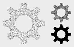 Gearwheel Vector Mesh Carcass Model and Triangle Mosaic Icon. Mesh gearwheel model with triangle mosaic icon. Wire frame triangular mesh of gearwheel. Vector vector illustration