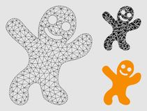 Happy Cookie Man Vector Mesh Wire Frame Model and Triangle Mosaic Icon. Mesh happy cookie man model with triangle mosaic icon. Wire frame polygonal mesh of happy royalty free illustration