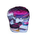 Mesh Laundry Bag. With folded clean clothes isolated on a white background Stock Photo