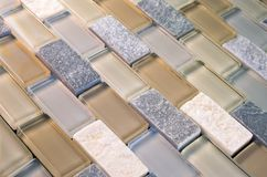 Mesh-Mounted Glass and Stone Tile Stock Photo