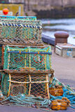 Mesh net shellfish traps at sea port Royalty Free Stock Photos