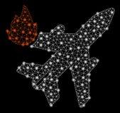 Mesh Network Airliner Fire brilhante com pontos instantâneos ilustração royalty free