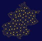 Mesh Network Beijing City Map amarillo con los puntos de la llamarada ilustración del vector