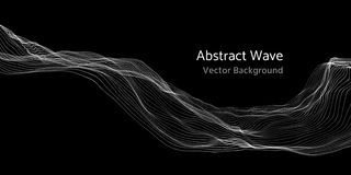 Mesh network 3d abstract wave and particles vector background. Network mesh technology wave digital illustration Stock Images