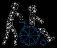 Mesh Network Disabled Person Transportation intelligente con i punti luminosi illustrazione vettoriale