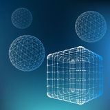 Mesh polygonal background. Scope of lines and dots. Ball and Cube of the lines connected to points. Molecular lattice. The structural grid of polygons stock illustration